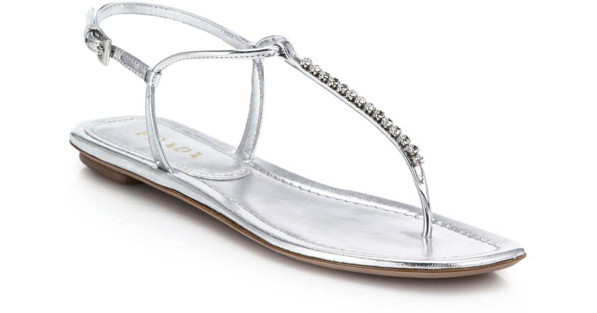4f68cc25a3d Lyst - Prada Swarovski Crystal Flat Metallic Leather Sandals in Metallic