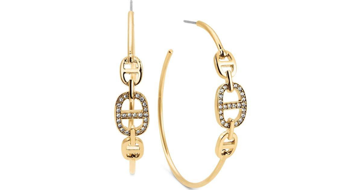 e82877b5d1c7b Michael Kors Metallic Gold-Tone Clear Stone Maritime Post Hoop Earrings
