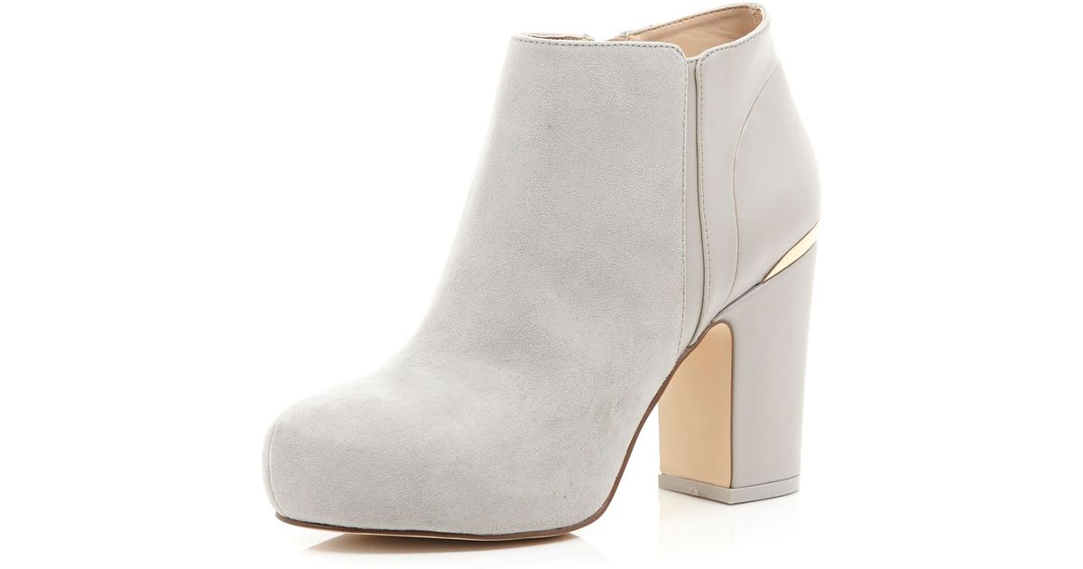 6826a881270 River Island Gray Grey Block Heel Ankle Boots