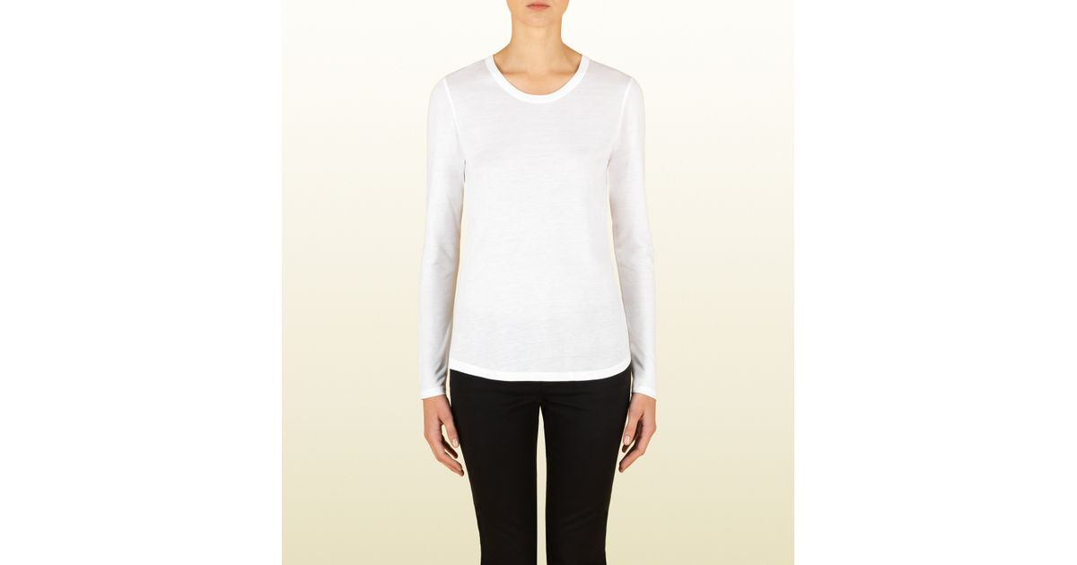 0c60c4efd Gucci Women's White Silk Jersey Long Sleeve T-shirt From Viaggio Collection  in White - Lyst