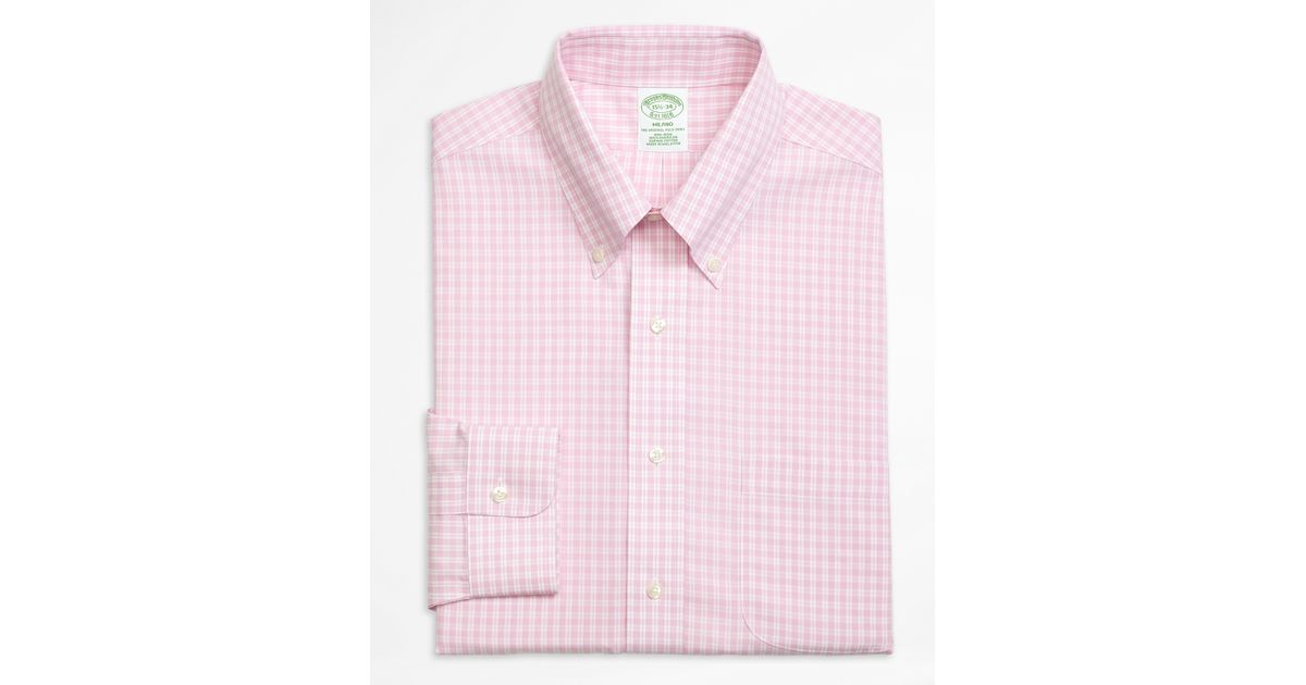 Brooks brothers non iron milano fit twin gingham dress for Men s red gingham dress shirt