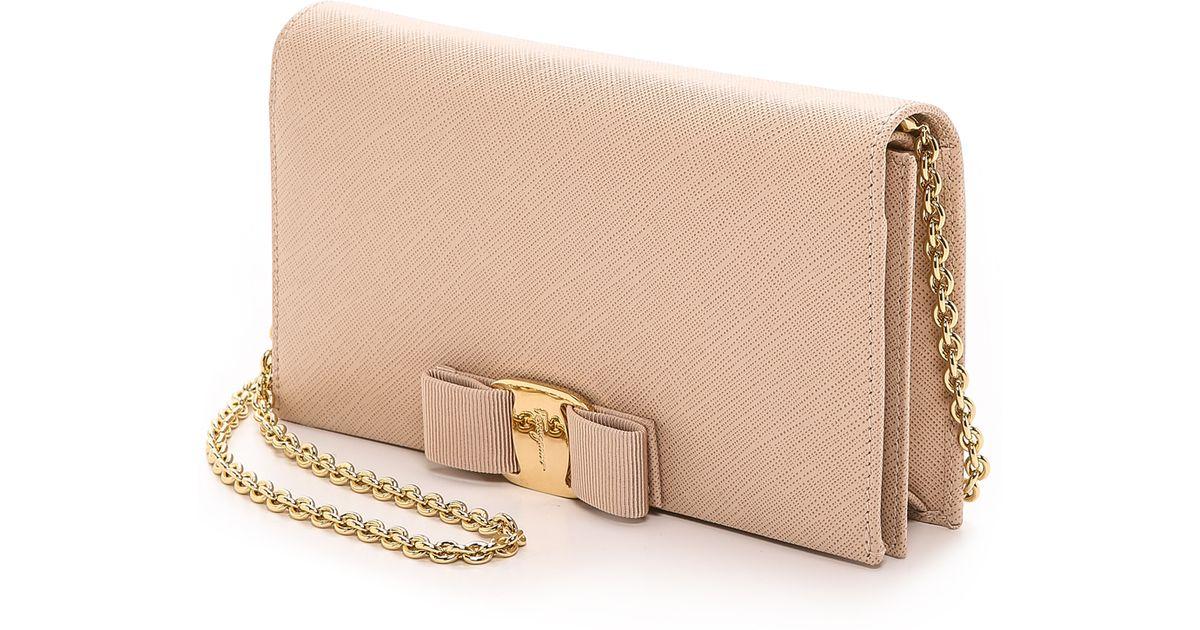 b642b4207d Ferragamo Miss Vara Wallet On A Chain - New Bisque in Metallic - Lyst