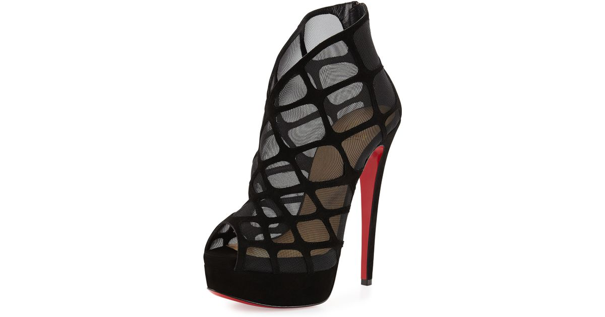 the latest 23364 4d772 Christian Louboutin Black Altarakna Mesh-caged Red Sole Bootie