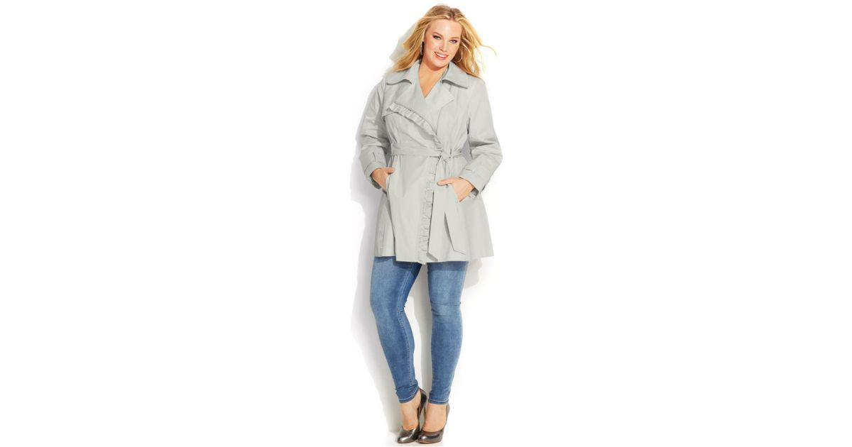2b6082a30e4 Lyst - Jessica Simpson Plus Size Ruffled Belted Trench Coat in Metallic