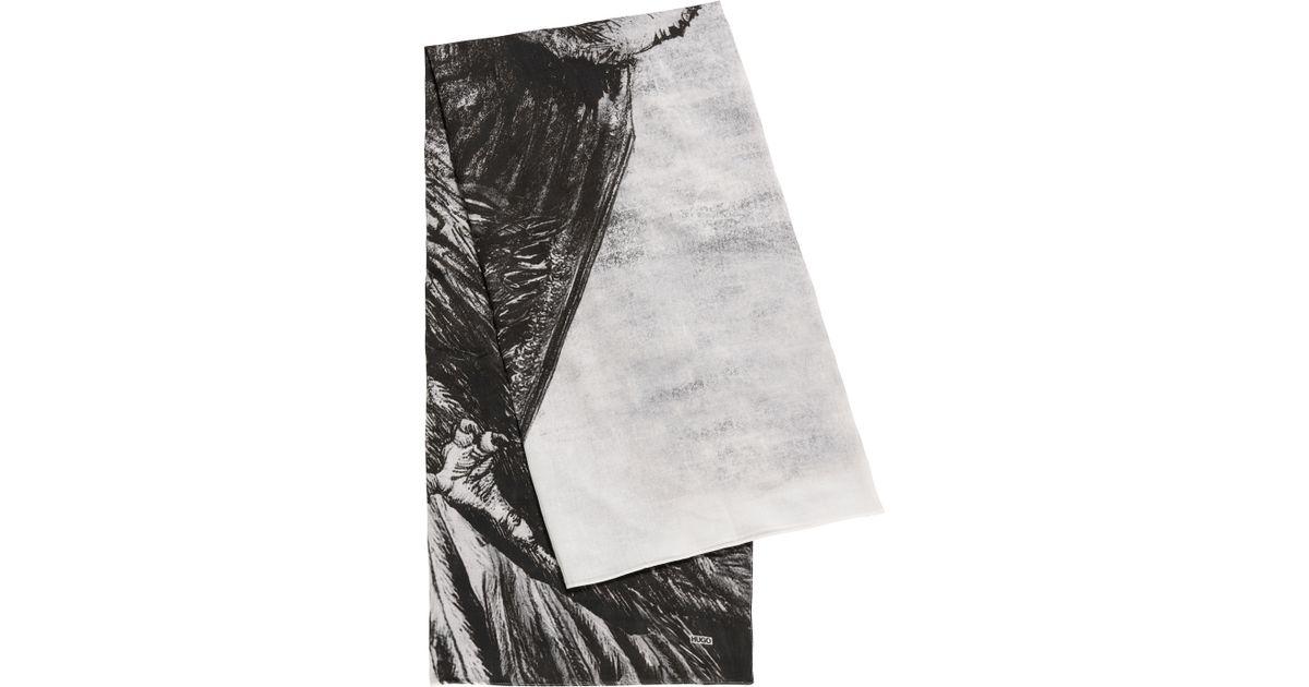 Hugo Cotton Scarf   men-z 447  in Black for Men - Lyst 31e080d190f