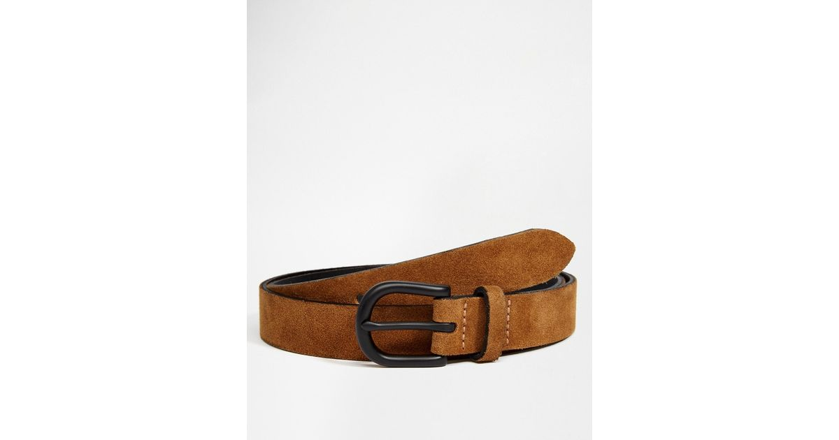 asos suede belt in in brown for lyst