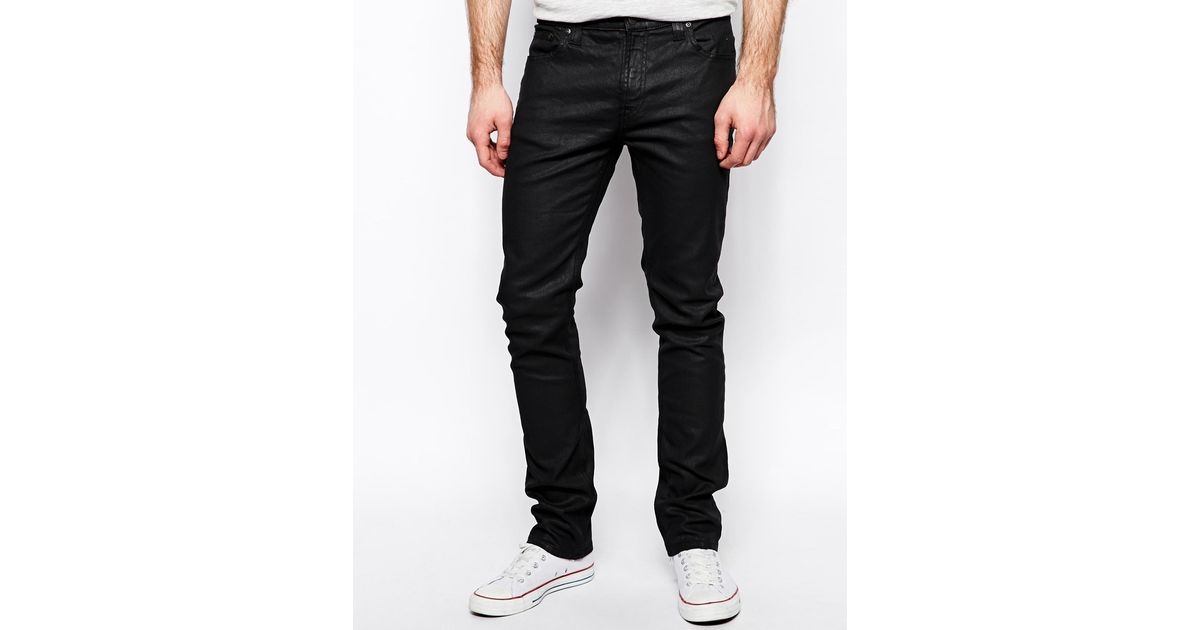 Nudie Jeans Tube Tom Skinny Fit Back In Black Coated For -5717