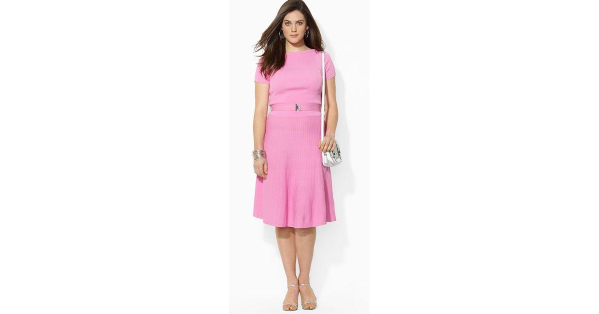 Lyst - Ralph Lauren Lauren Plus Ravonna Short Sleeve Dress in Pink