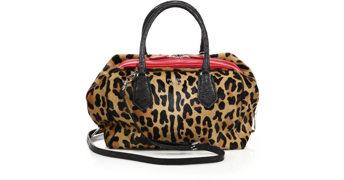 6a2954a87a01 Lyst - Prada Leopard-print Calf Hair