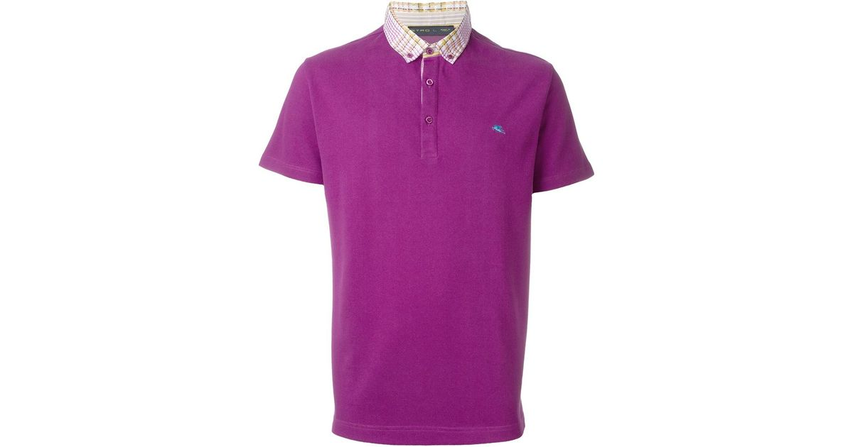 Etro Check Collar Polo Shirt In Pink For Men Lyst
