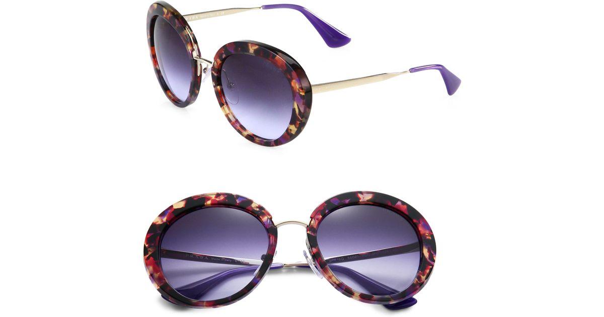 a18b1ef8ee ... clearance lyst prada round plastic metal sunglasses in purple ee849  d4918