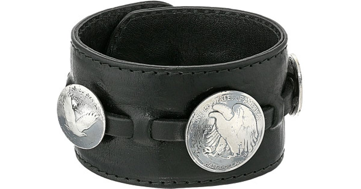 Lyst King Baby Studio Leather Cuff Bracelet W Half Dollar And 2 Quarter Coins In Black For Men