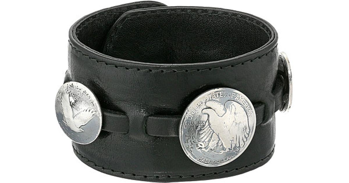 King Baby Studio Black Leather Cuff Bracelet W/ Half Dollar And 2 Quarter  Dollar Coins for men