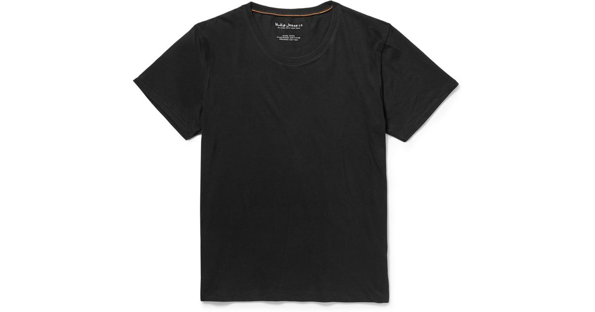 Lyst - Nudie Jeans Fairtrade Organic Cotton-jersey Crew Neck T-shirt in  Black for Men
