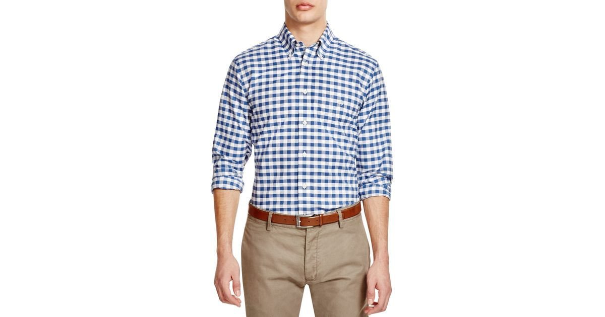 Brooks brothers gingham oxford regular fit button down for Blue gingham button down shirt