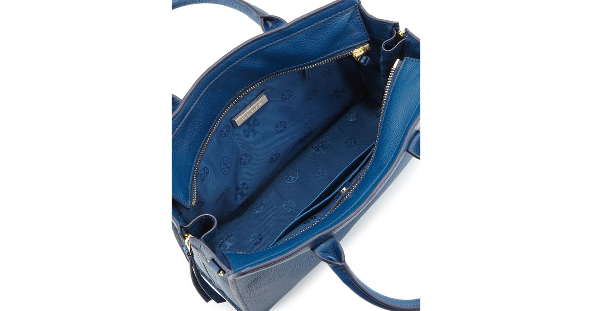 2f9fdb201ea Lyst - Tory Burch Brody Small Leather Tote Bag in Blue