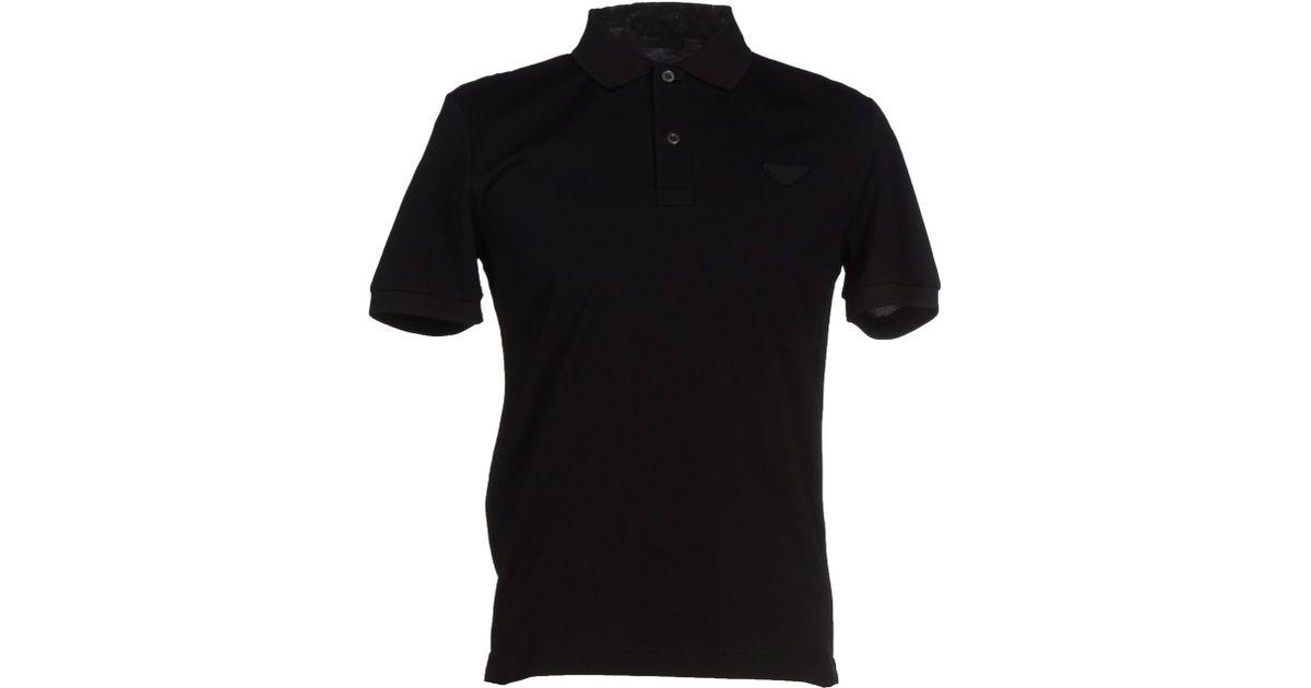 54a9b889 Prada Polo Shirt in Black for Men - Lyst