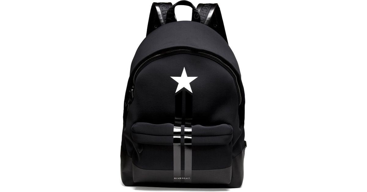 32132ad16ce Givenchy Black Star/Stripe Neoprene Backpack