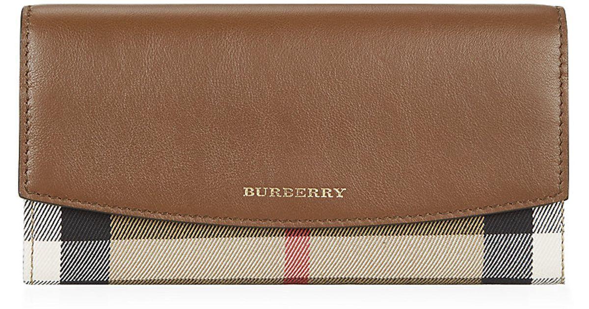 Burberry House cuero color billetera Porter de cheque continental marrón en y 1SZx16q