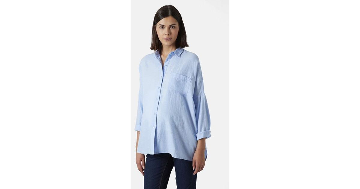 8cc6b13a787 Lyst - TOPSHOP Oversized Chambray Maternity Shirt in Blue