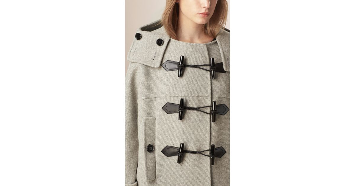 Burberry Oversize Virgin Wool Cashmere Duffle Coat Light Grey ...