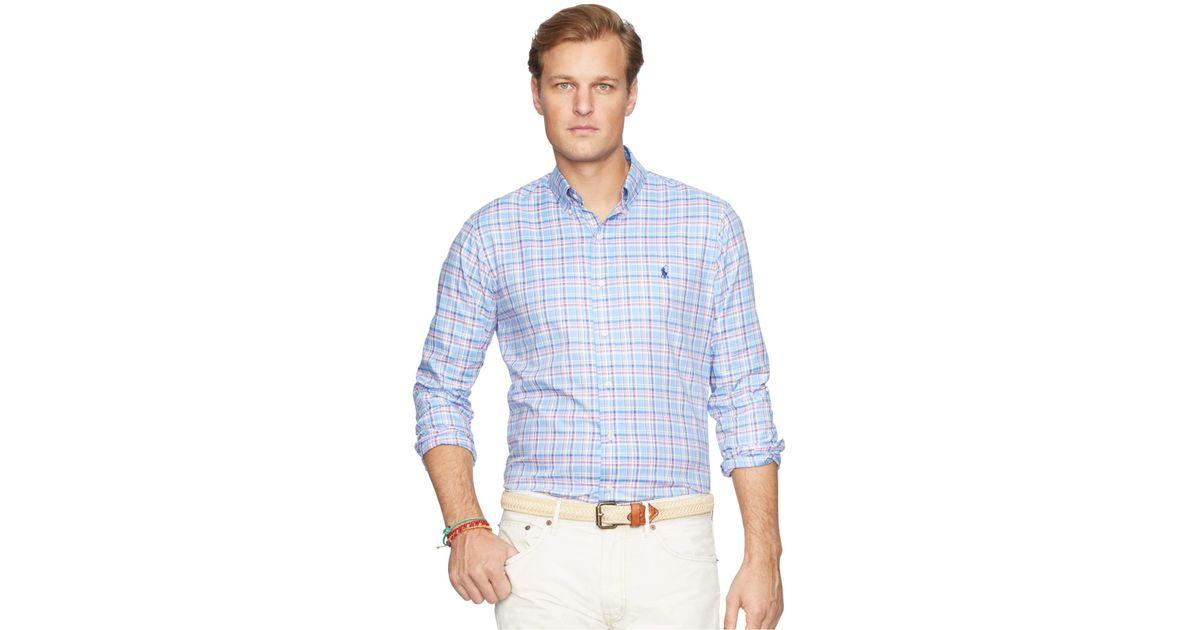 Polo ralph lauren men 39 s big and tall plaid oxford shirt in for Big and tall oxford shirts