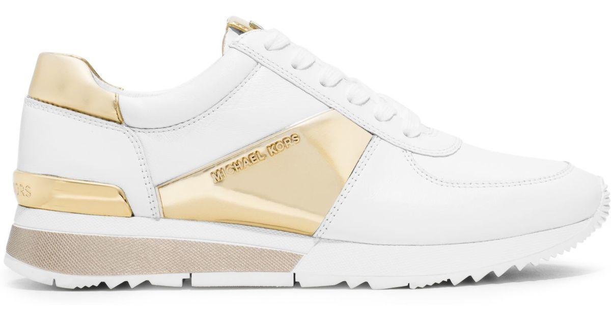 Ganz und zu Extrem Lyst - Michael Kors Allie Metallic-trim Leather Sneaker in White &EQ_31