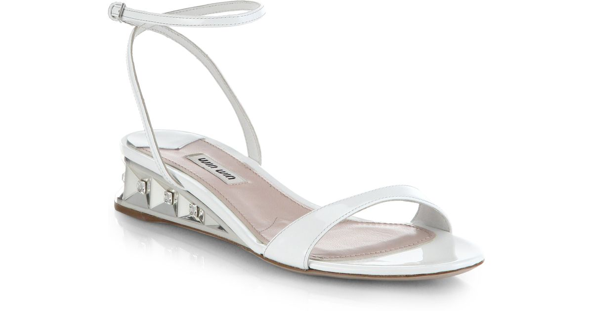 Demi Leather White Sandals Wedge Miu Mirrored Patent N8OP0wkXnZ