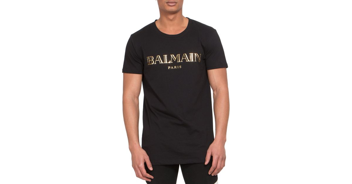 f8a709d96364 Lyst - Balmain Logo Print Cotton Jersey Tee in Black for Men