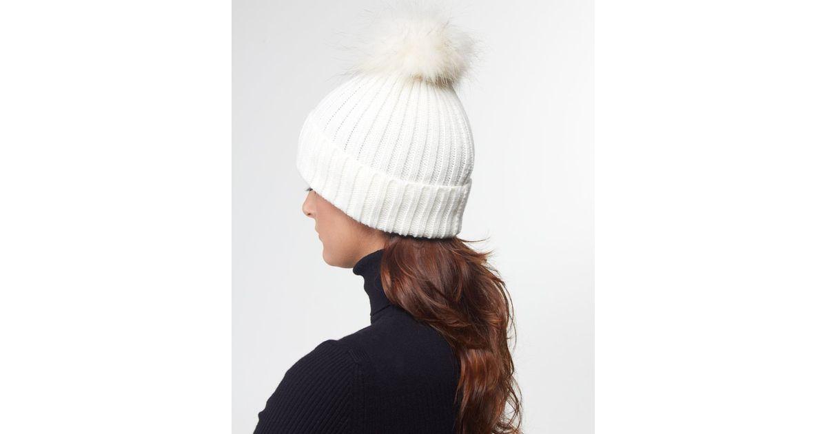 4ab1e3cb078 ... huge selection of adb79 b101d Lyst - Yves Salomon Fur Bobble Hat in  White ...