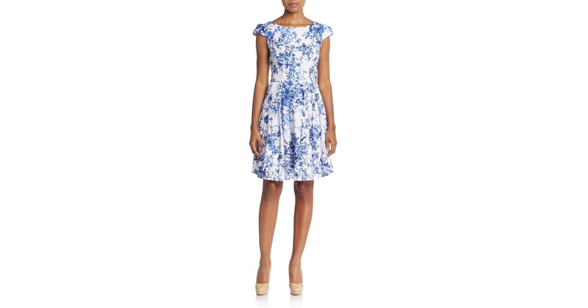 Betsey Johnson Blue Lace Floral Print A Line Dress
