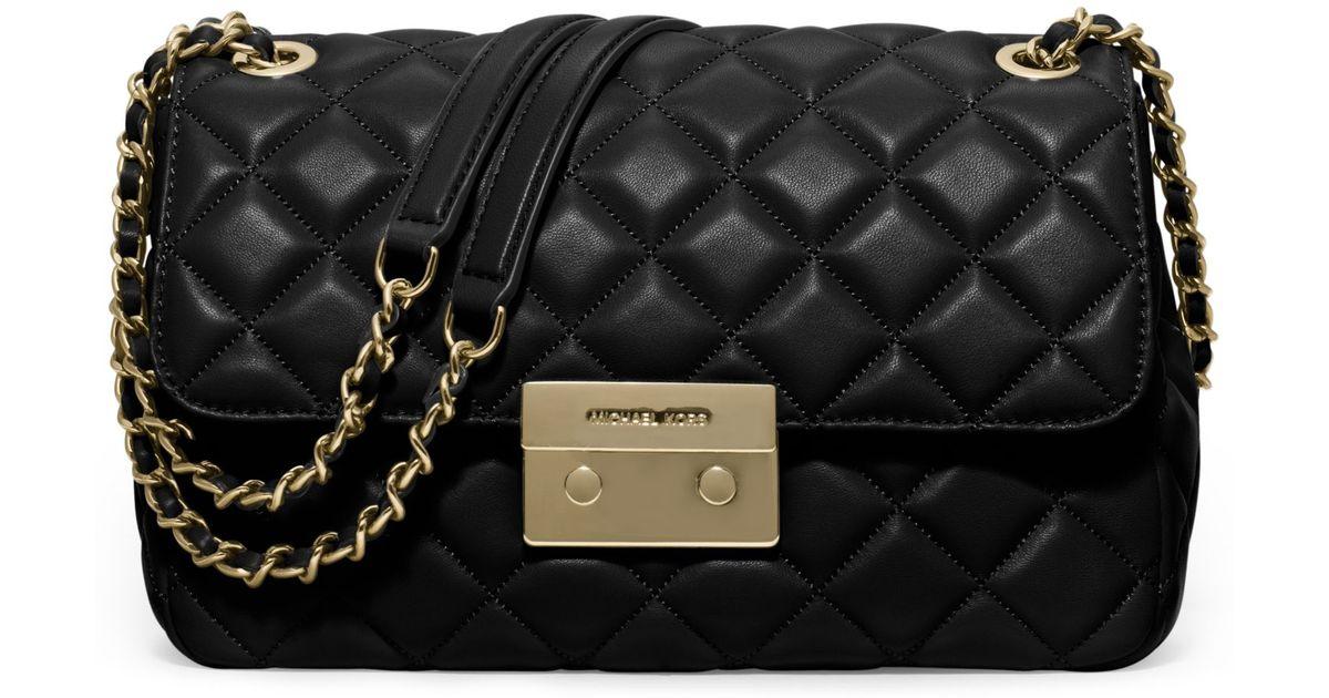 Lyst - Michael Kors Sloan Large Quilted-leather Shoulder Bag in Black 6615bdcfb0