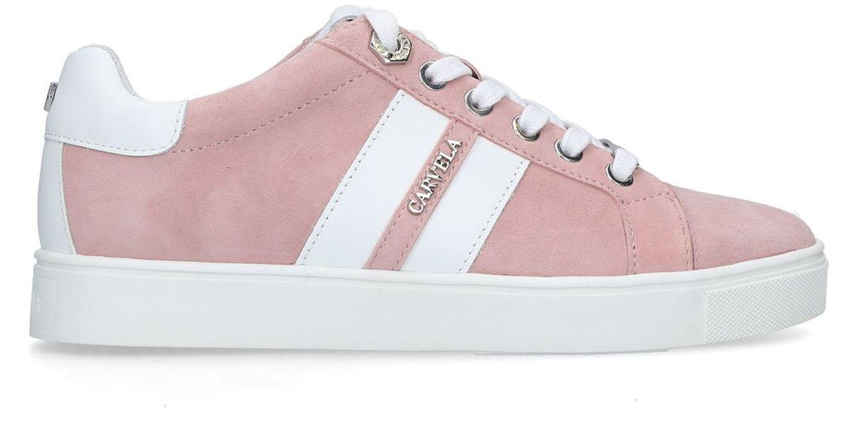 f7183644e62cc Carvela Kurt Geiger Lisa Suede Trainers in Pink - Save 29% - Lyst