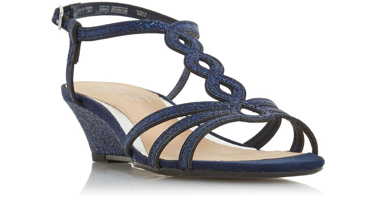 Ankle Navy Wedge Glitter Dune 'kammy' Blue Heel Strap Sandals nP8kwOX0