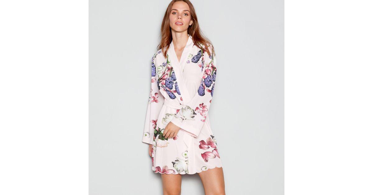 Ted Baker Pale Pink Floral Print \'kensington\' Satin Dressing Gown in ...
