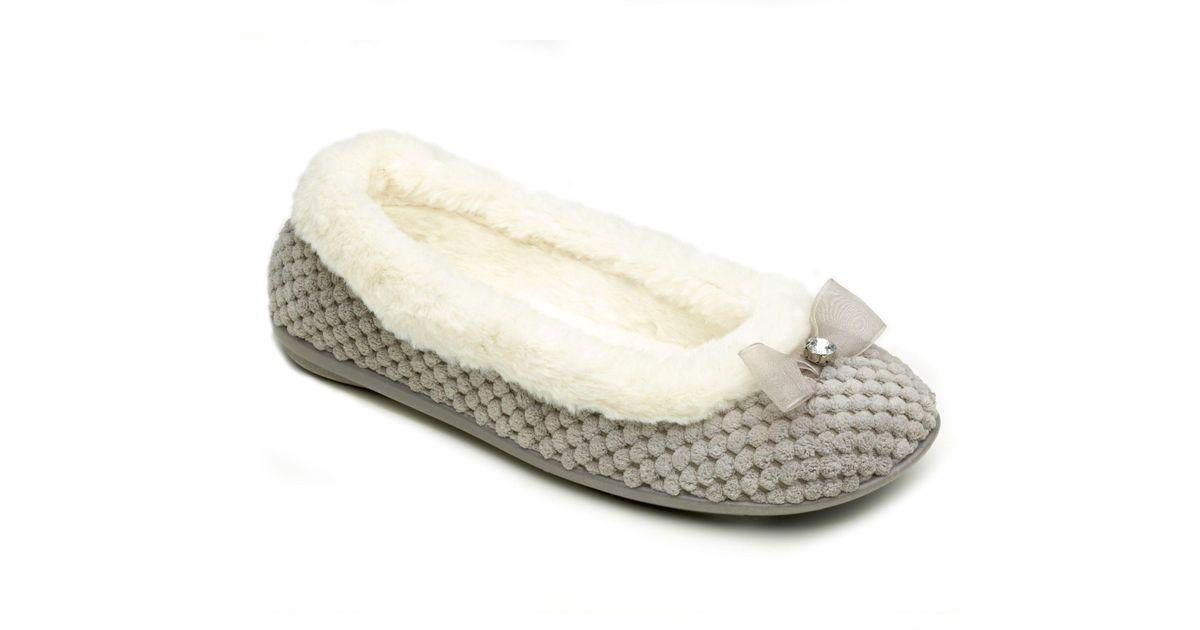 71121c1c Freestep Grey Textile Ladies Slippers in Gray - Lyst