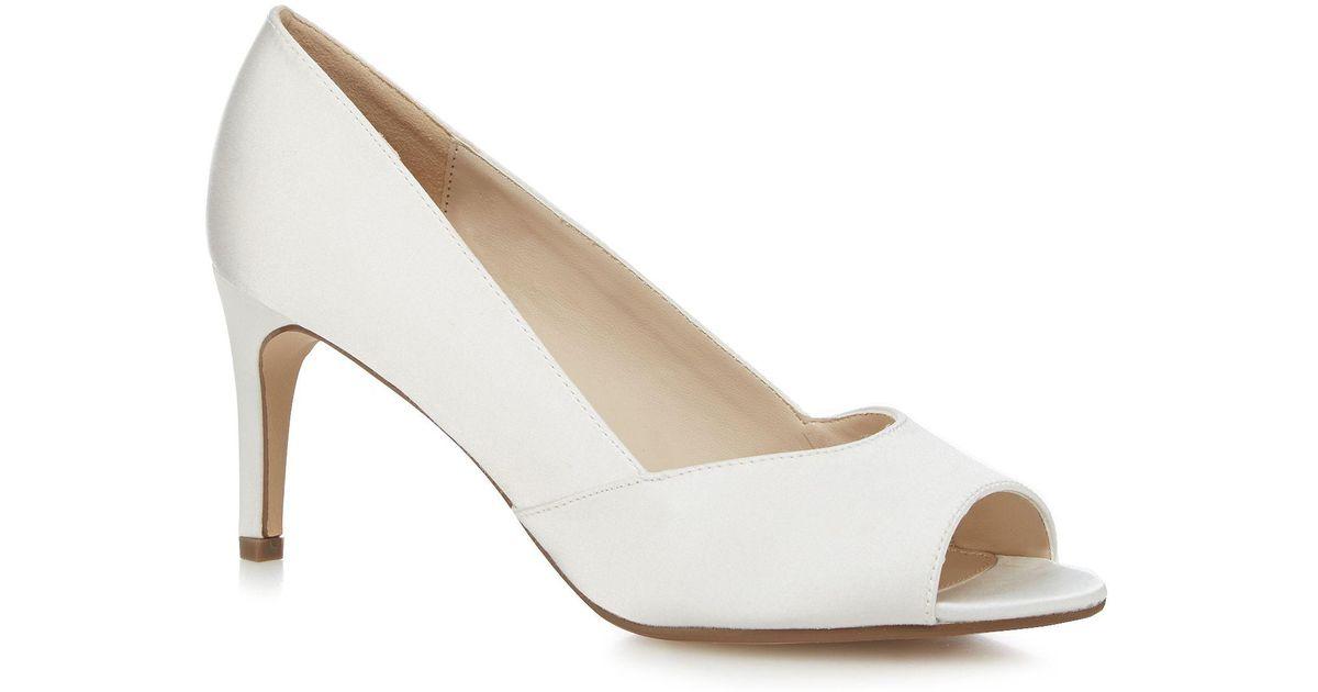41979c99726 Début White Satin Mid Heel Peep Toe Shoes in White - Lyst