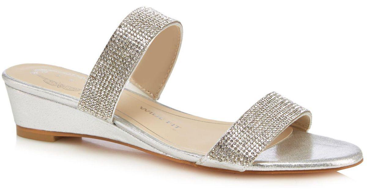 ff606fbfb1 Début Silver Diamante 'delight' Mid Heel Wide Fit Sandals in Metallic - Lyst