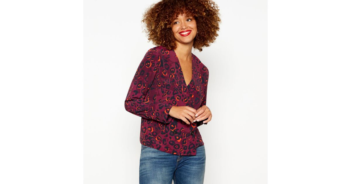 official site popular brand many fashionable Red Herring Purple Leopard Print Shirt in Purple - Lyst