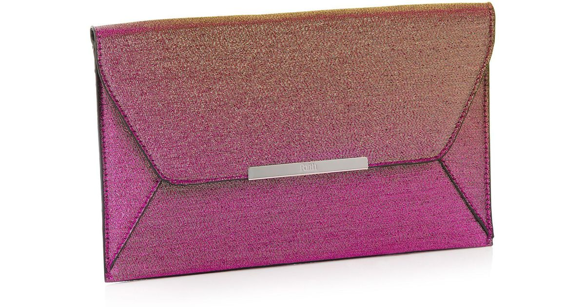 56fd01a7df Faith Pink Glitter 'party' Envelope Clutch Bag in Pink - Lyst