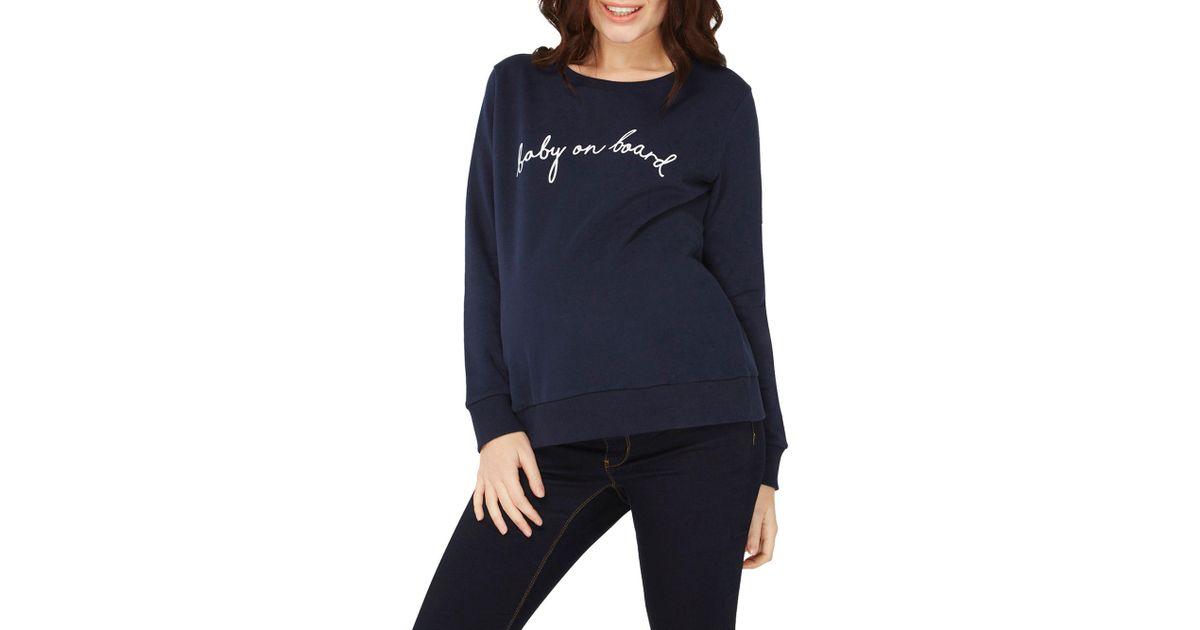 774b3a4097a19 Dorothy Perkins Maternity Navy 'baby On Board' Slogan Sweatshirt in Blue -  Lyst