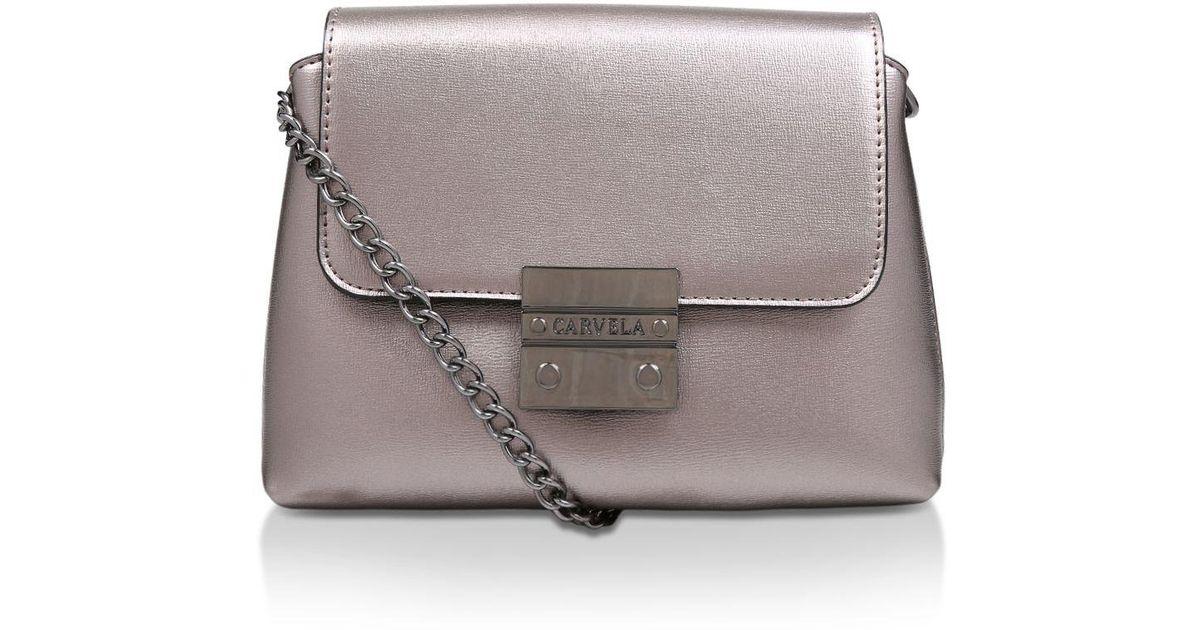 ab54849b30b Carvela Kurt Geiger Pewter  mini Blink Shoulder Bag  Shoulder Bag in Gray -  Lyst