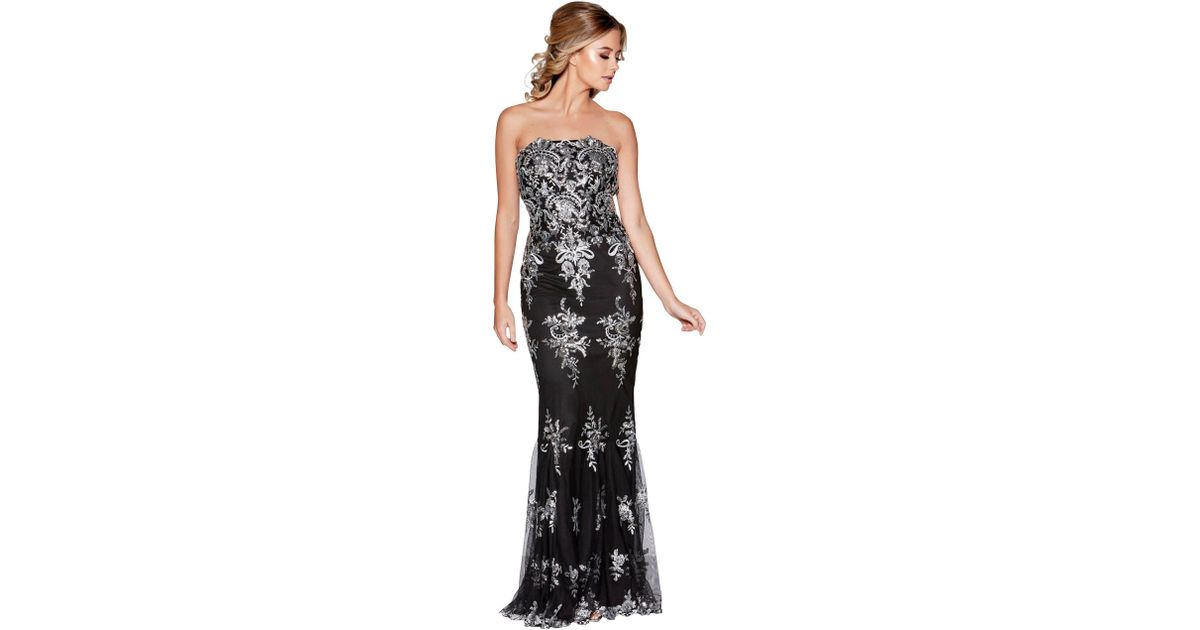 289cad69738 Quiz Black And Silver Embellished Strapless Fishtail Maxi Dress in Black -  Lyst