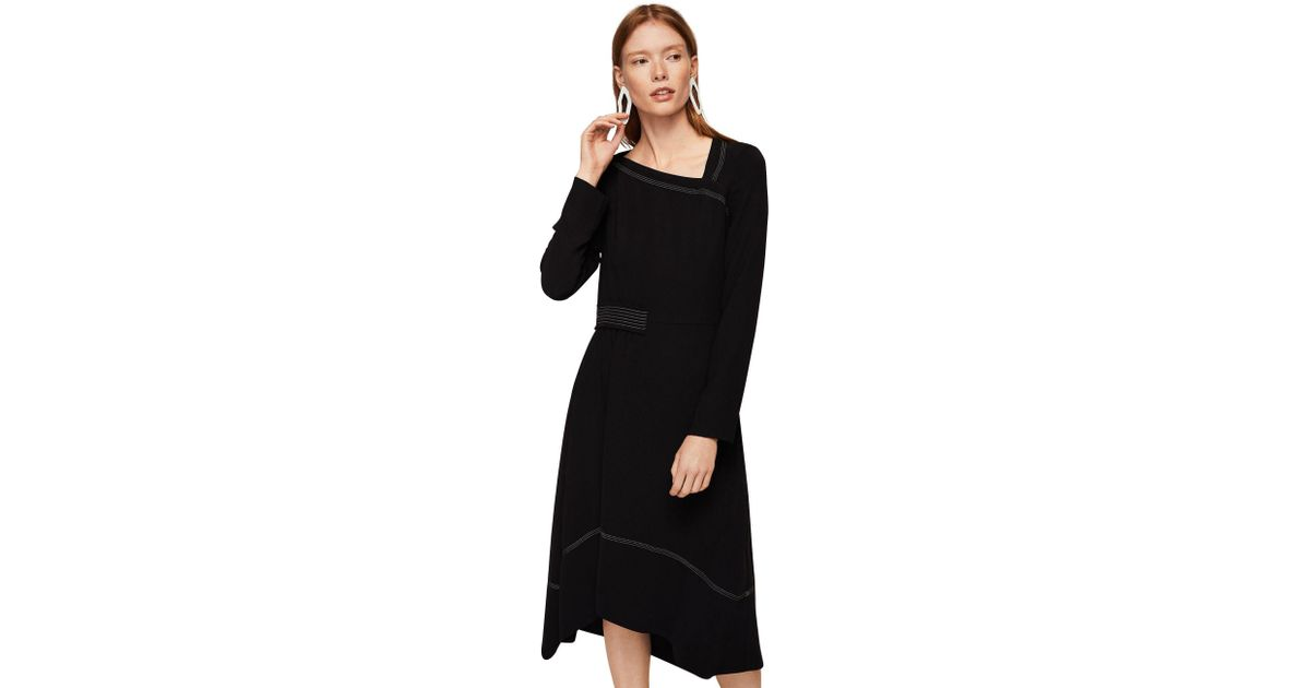 05db91a4e0b7 Mango Black  marine  Asymmetric Neck Long Sleeve Midi Dress in Black - Lyst