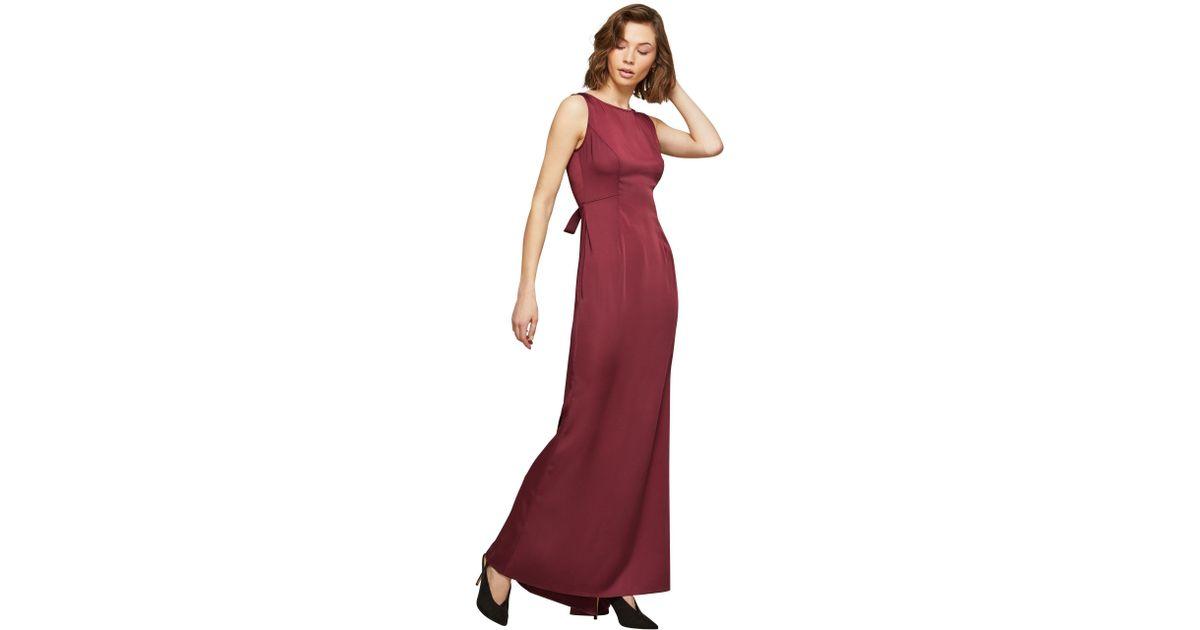 Miss Selfridge Burgundy Fishtail Prom Dress In Red Lyst