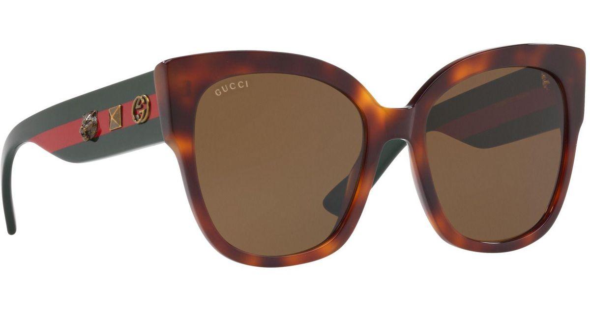 8b298dd2551 Gucci Tortoiseshell Gg0059s Rectangle Sunglasses in Brown - Lyst