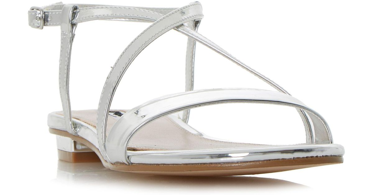 5d88a3b96bd Dune Silver  nena  Strappy Cross Over Flat Sandals in Metallic - Lyst