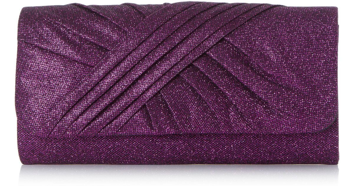 Roland Cartier Purple  bailee  Ruched Fabric Clutch Bag in Purple - Lyst ad7f1ce4cc0fe