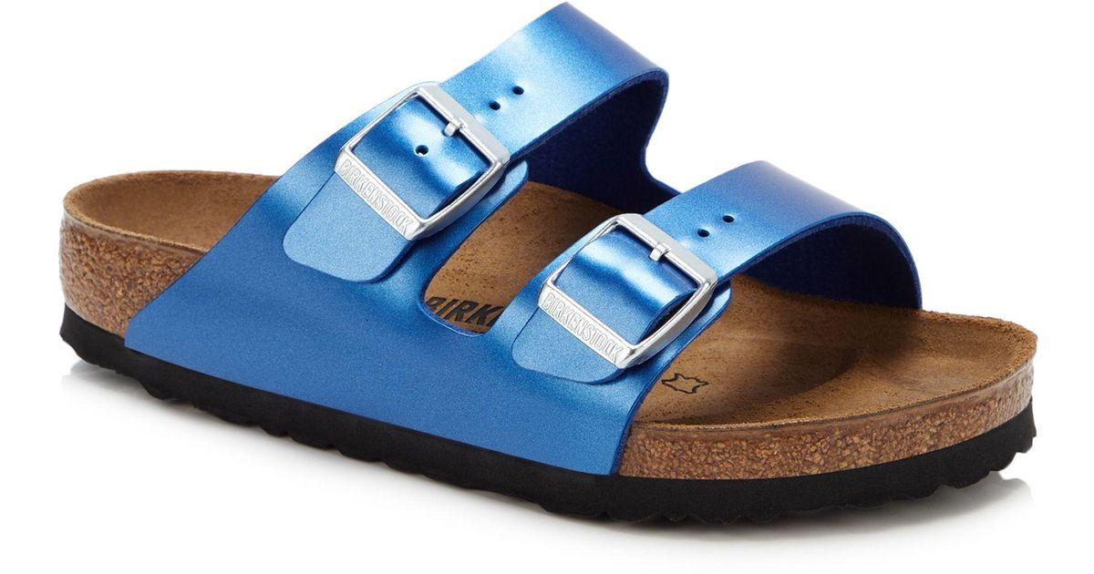 Birkenstock Suede Arizona Double Strap Sandals In Blue