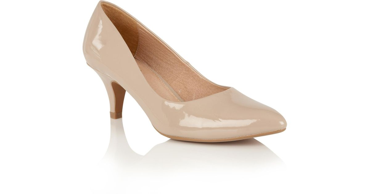 489e998783b Lotus Natural Nude Patent 'clio' Mid Kitten Heel Court Shoes